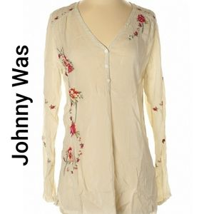 Johnny was embroidered floral blouse top small